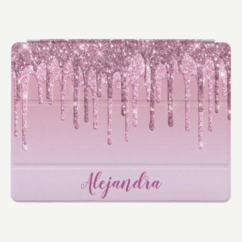 Elegant stylish pink rose gold glitter drips iPad pro cover