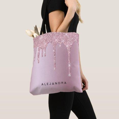 Elegant stylish pink rose gold glitter drips tote bag
