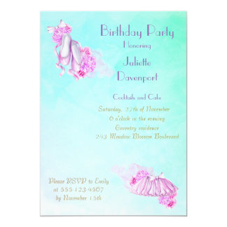 Elegant Stylish Pink Watercolor Ballet Birthday Card