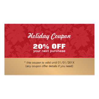 Elegant Stylish Red Lace Gold Holiday Coupon Double-Sided Standard Business Cards (Pack Of 100)