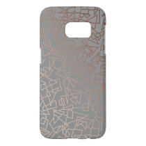 Elegant stylish rose gold geometric pattern grey samsung galaxy s7 case
