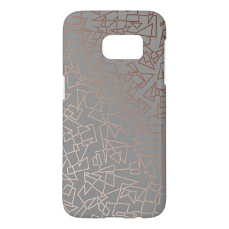 Elegant stylish rose gold geometric pattern grey samsung galaxy s7 case