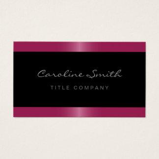 Elegant stylish satin fuchsia pink border black business card
