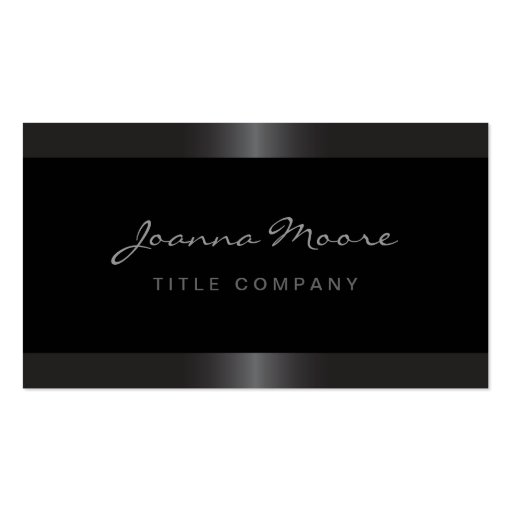 Elegant stylish satin gray border black business cards (front side)