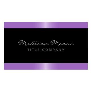 Elegant stylish satin lavender purple border black Double-Sided standard business cards (Pack of 100)