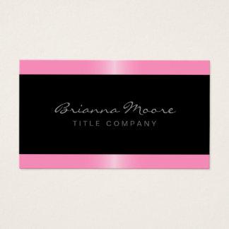 Elegant stylish satin pink border black business card