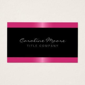 Elegant stylish satin rose pink border black business card