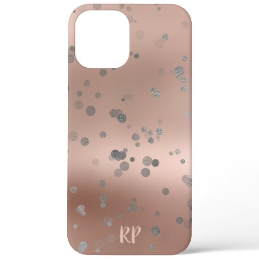 Elegant stylish silver confetti dots rose gold iPhone 12 pro max case