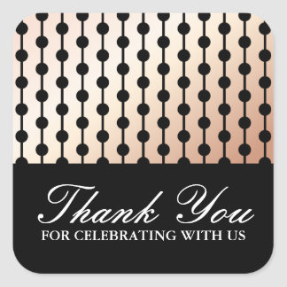Elegant stylish soft peach gradient thank you square sticker