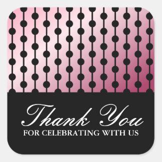 Elegant stylish soft pink gradient thank you square sticker