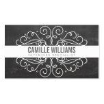 ELEGANT stylish swirls art nouveau chalkboard gray Business Card Template