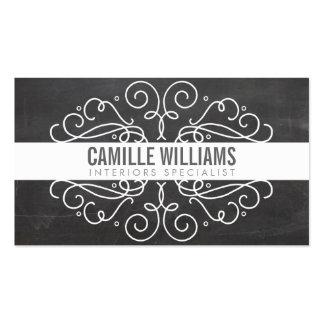 ELEGANT stylish swirls art nouveau chalkboard gray Double-Sided Standard Business Cards (Pack Of 100)