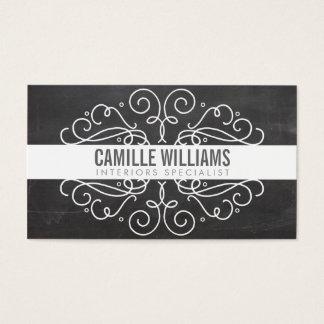 ELEGANT stylish swirls art nouveau chalkboard gray Business Card