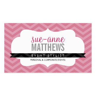 ELEGANT stylish trendy chevron pattern rose pink Double-Sided Standard Business Cards (Pack Of 100)