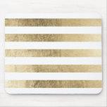 Elegant stylish trendy faux gold modern stripe mouse pad