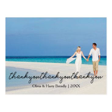 Beach Themed Elegant Stylish Wedding Thank You Postcard | Black