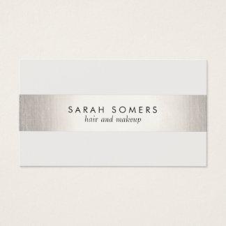 Elegant Stylish White Modern FAUX Silver Striped Business Card