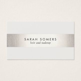 Elegant Stylish White Modern FAUX Silver Striped Business Card