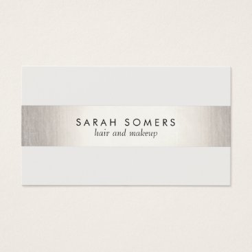 sm_business_cards Elegant Stylish White Modern FAUX Silver Striped Business Card