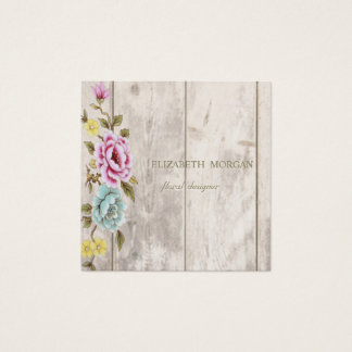 Elegant Stylish Wood texture,Floral Square Business Card