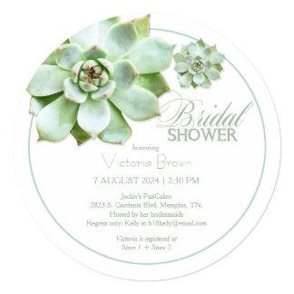 Elegant Succulent Botanical Bridal Shower Card