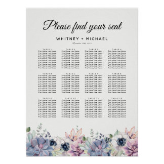Elegant Succulent Floral Wedding Seating Chart