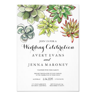 Elegant Succulent Plant Art Wedding Invitation