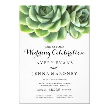 GreenLeafDesigns Elegant Succulent Plant Wedding Invitation