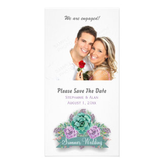 Elegant Succulent Watercolor Wedding Save The Date Card