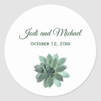 Elegant Succulent Wedding Invitation Classic Round Sticker