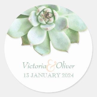 Elegant Succulent Wedding Invitation Classic Round Sticker