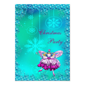 Elegant Sugar Plum Fairy & Sequins Christmas Party Card