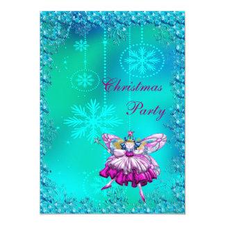 Elegant Sugar Plum Fairy & Sequins Christmas Party Personalized Invitation