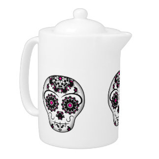 Elegant sugar skull teapot