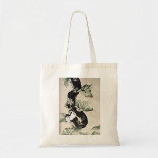 Elegant sumi-e snake tote bags
