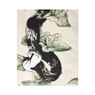 Elegant sumi-e snake canvas prints