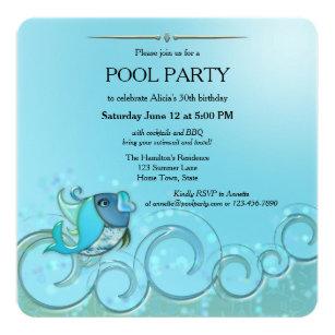 Elegant Summer Pool Party Invitation
