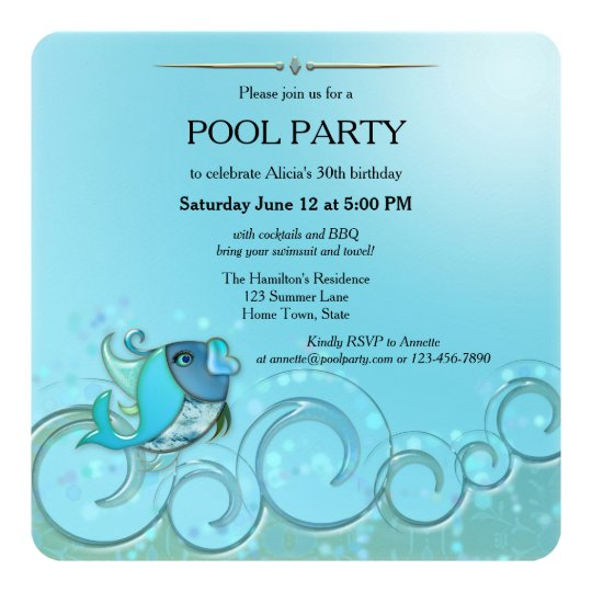 Elegant Summer Pool Party Invitation