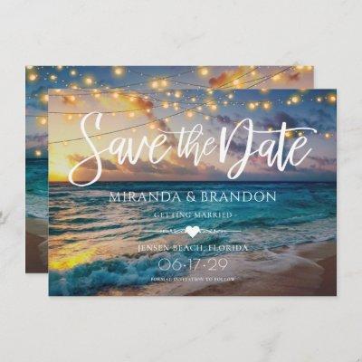 Elegant Summer Sunset Beach String Lights, Wedding Save The Date