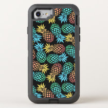 elegant summer tropical colorful pineapple pattern OtterBox defender iPhone 8/7 case