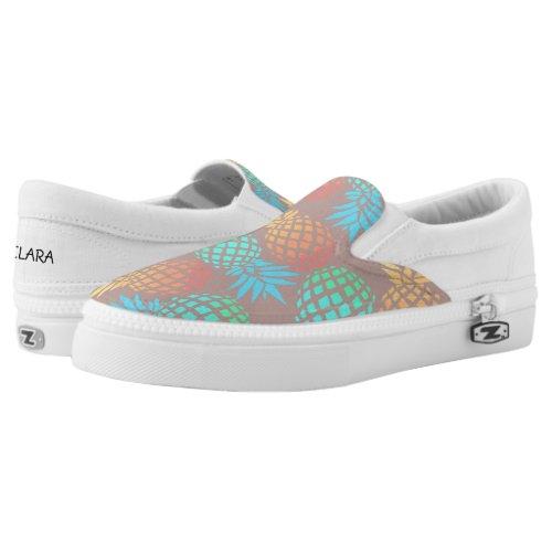 elegant summer tropical colorful pineapple pattern Slip-On sneakers