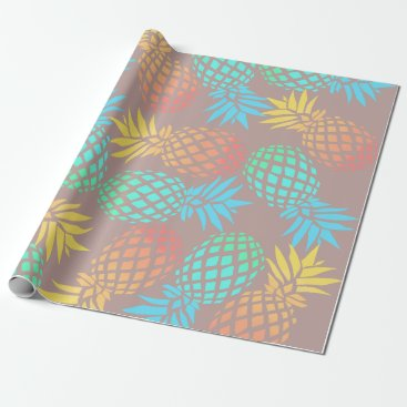 elipsa elegant summer tropical colorful pineapple pattern wrapping paper