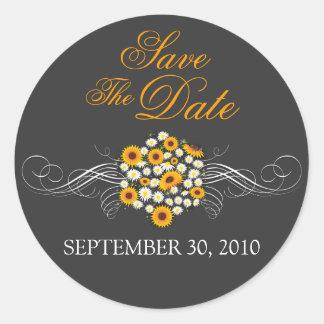Elegant Sunflower Daisy Bouquet Save The Date Classic Round Sticker