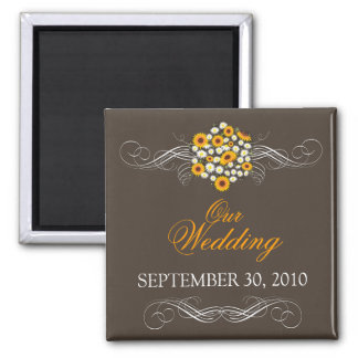 Elegant Sunflower Daisy Bouquet Wedding Announce 2 Inch Square Magnet