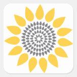 Elegant Sunflower Envelope Seal Square Sticker