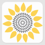 Elegant Sunflower Envelope Seal Square Stickers