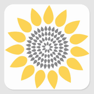 Elegant Sunflower Envelope Seal Square Stickers