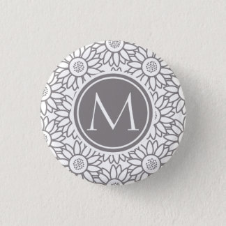 Elegant Sunflower Pattern Monogrammed Button