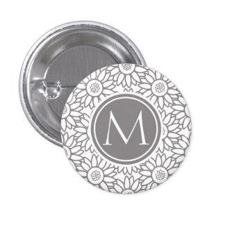 Elegant Sunflower Pattern Monogrammed Button