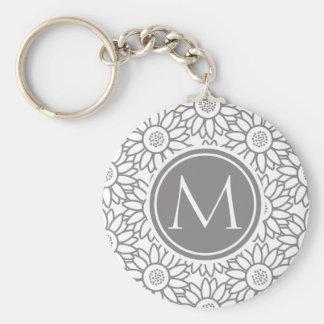 Elegant Sunflower Pattern Monogrammed Keychain